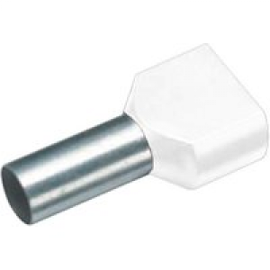 Cimco 18 2434 Zwillings-Aderendhülse 2 x 0.75mm² x 10mm Teilisoliert Weiß 100St.