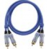 Oehlbach Cinch Audio Anschlusskabel [2x Cinch-Stecker - 2x Cinch-Stecker] 5.00m Blau vergoldete Stec