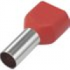 TRU COMPONENTS 1091320 Zwillings-Aderendhülse 1 x 10mm² x 14mm Teilisoliert Rot 100St.