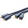Clicktronic Cinch Audio Anschlusskabel [2x Cinch-Stecker - 2x Cinch-Stecker] 15m Blau vergoldete Ste